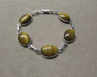 Tiger's Eye STERLING silver cabochon 5-stone bracelet.