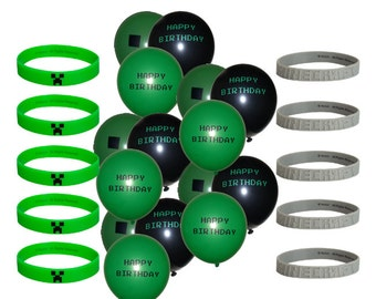 """25 Piece Set!  Includes 10 Green or Gray Bracelets & 15 Misc Unbranded 12"""" Natural Latex Balloons (5 of each design). Party Decor"""