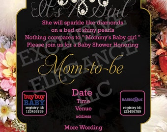 It's A Girl Baby Shower Invitations - Flowers and Pearls