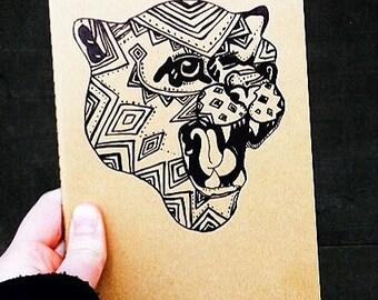 zentangle leopard on moleskin journal