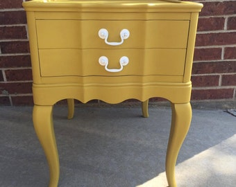 Mustard Modern Vintage End Table