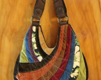 Lucky Brand Mixed Fabric Patchwork Hobo Bag