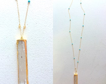 """29""""long bold and unique Selenite necklace  accented with Turquoise, TARNISH FREE,14ct gold filled chains and clasp, crystal,summer, clear"""