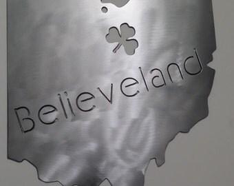 Believeland Cleveland Home Steel Wall Decor