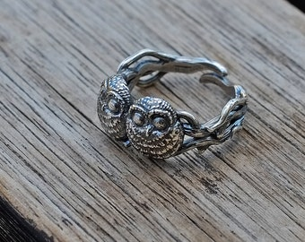 Antiqued Sterling Silver Baby Owls Adjustable Ring