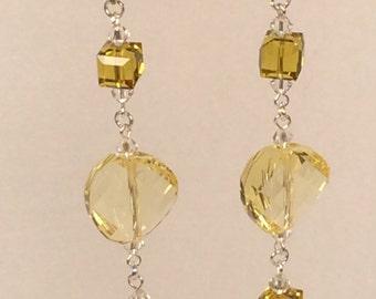 Swarovski Twisted Earrings in Light Topaz