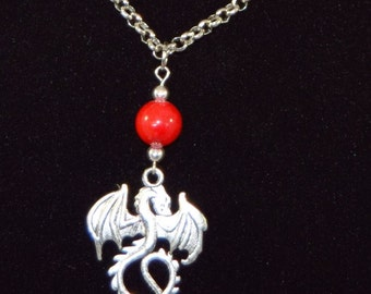 Silver Dragon   Necklace and Earring Set