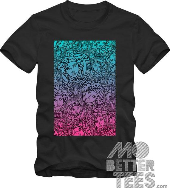 Medusa Head Medallion southbeach black Graphic Tee T-Shirt Miami Versace Style
