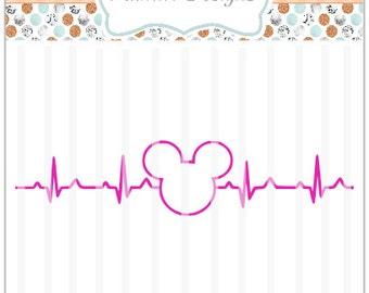 DISNEY Heartbeat SVG ~ Cricut, Design Space, DIY, Vinyl, Mickey Mouse, Decal
