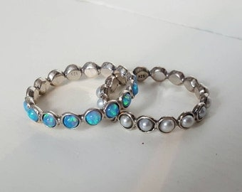 2x Stackable Silver Rings with Opals & Pearls. Size T / U
