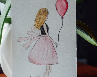 Let's Float Away- Watercolor Fashion Illustration