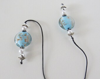 String Beaded Book Marker transparent blue bead accented with pearls and silver