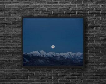 Full Moon Photography - Night Photo - Blue Sky - Mountains Photo - Sky Photography - Moon Photo Print - Blue Wall Decor - Sky Wall Decor