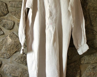 Antique French Linen Peasant Smock Shirt - Original and Clean but unbleached/untreated