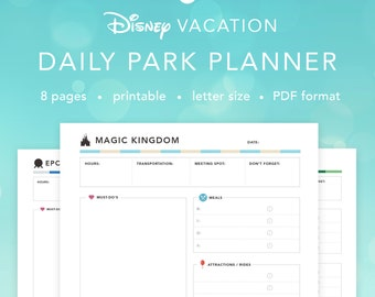 Disney World Daily Parks Planner | Disney Agenda Itinerary Planning Pages | INSTANT DOWNLOAD