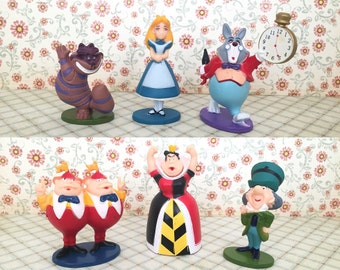 6 Pcs Set ~ Alice In Wonderland CAKE TOPPER, Birthday Party Figure Set Cupcake Figurine Disney Kids Birthday Party