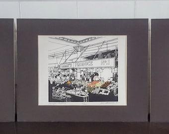 Pike Place Market Trio Drawings by Jim Stevenson