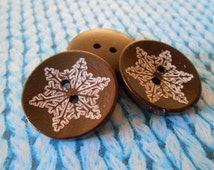 Wood Laser Etched Buttons Dark Coffee Brown Large 25 mm Wooden Round Snowflake Sweater Buttons Craft Sewing Scrapbooking Knitting Supplies