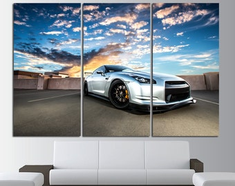 Nissan GT-R Large Canvas Print Wall Art Nissan GT-R Wall Art Cars Canvas Art Sport Cars Wall Art Sport Cars Print Poster Top Gear Wall Decor