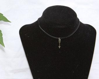 Suede Arrow Pendant Choker (silver or bronze)