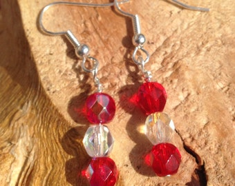 Red and White Delicate Beaded Drop Earrings