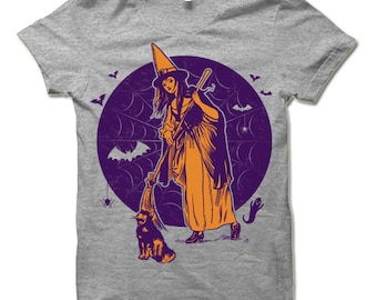The Witch's Broom Halloween T Shirt. Funny Halloween Gift.