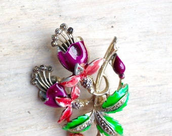 Colourful Painted Vintage Brooch
