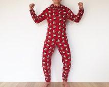 Funny Christmas Morning Adult Fleece Onesie Pajamas Red Christmas Tree Onsie Halloween Costume Ugly Sweater Party Sleepwear Medium To Large
