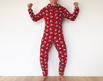 Funny Christmas Morning Adult Fleece Onesie Pajamas Red Christmas Tree Onsie Halloween Costume Ugly Sweater Party Sleepwear Medium To Large