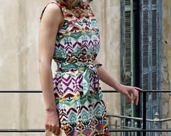 SALE! Mosaic Shirt Dress / Buttons Dress / Shirt Dress / Summer Dress / Vintage Dress / Colorful Dress