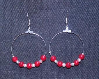 Red Jade Hoops