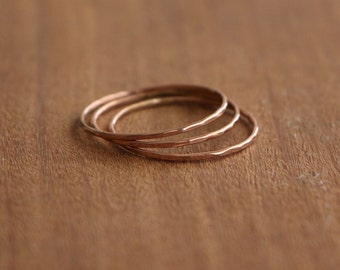 Set of 3 Ultra Thin Rose Gold Hammered Stacking Rings, 14K Solid Rose Gold Rings, Thin Hammered Rings