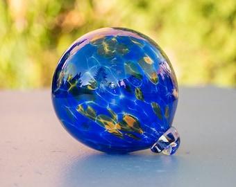 Ornament Hand Blown Art Glass Witch Ball Friendship Ball Cobalt Blue Yellow Amber
