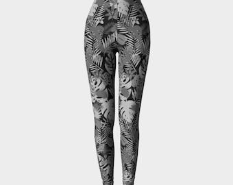 Tropical Leggings, Tropical Print, Black and White Leggings, Printed Leggings, Workout Leggings, Yoga Leggings, Palm Leaves Leggings,