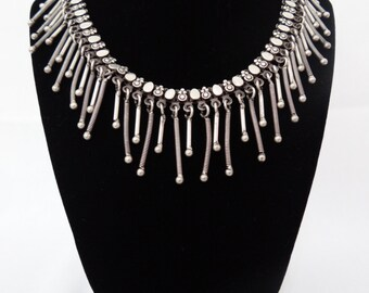 Vintage Oxidized Silver Dangling Necklace