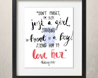 Notting Hill Movie Quote Print