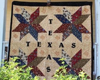 "Texas Star Quilt, Lone Star State, Queen Size Quilt, Texas symbols, Bed Quilt, Handmade quilt, Fiber Art, Western, Cowboy, South, 83"" x 88"","