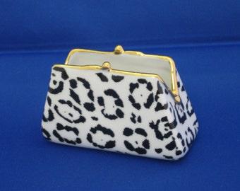 Hand painted porcelain purse shaped business card holder/desk tidy, jaguar print design.