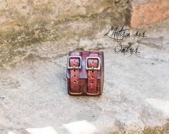 Bracelet of power leather handmade red marked