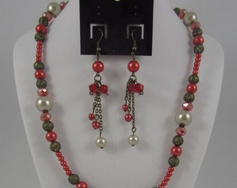 Red Pearl Matching Jewelry Set