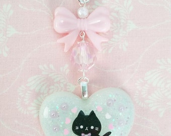 Kawaii pink hearts kitty resin keychain/bagcharm