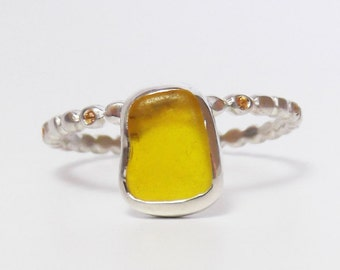 RING Crown, Silver 925, rare-seaglass, natural yellow Topaz