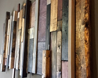 Reclaimed Wood Wall Art: Multi-Stain