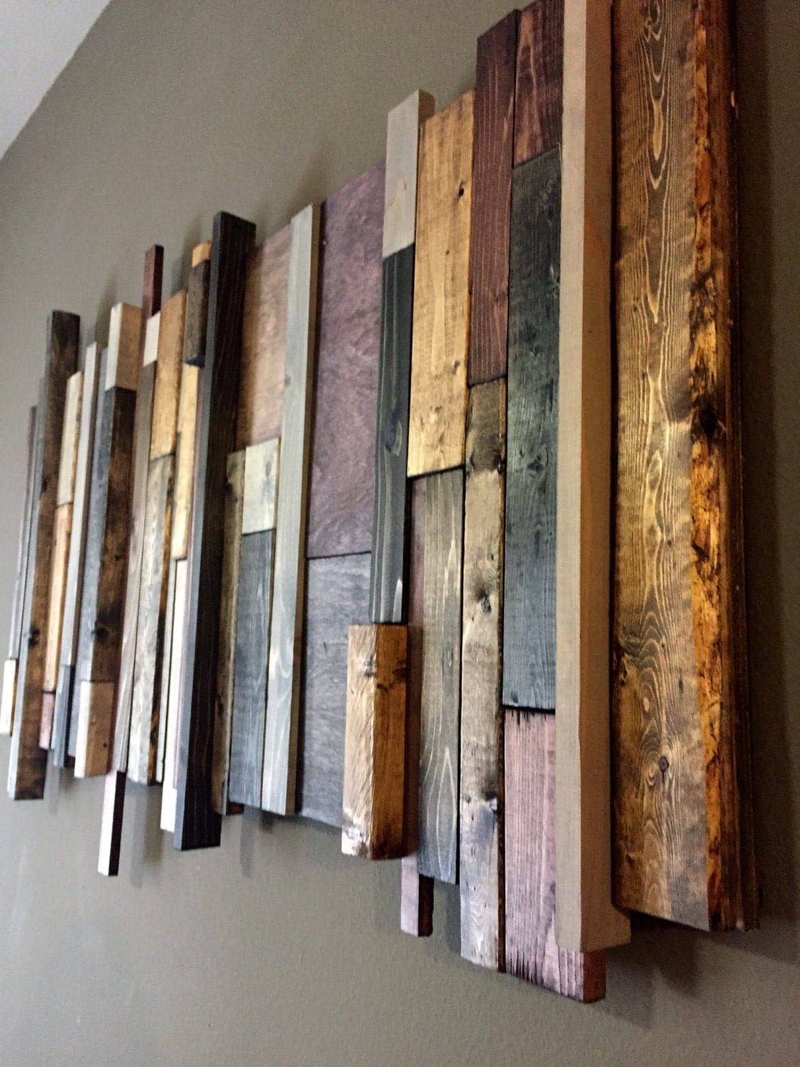 Stained Wood Wall: Reclaimed Wood Wall Art: Multi-Stain