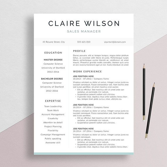 Items Similar To Professional Resume Template + Cover Letter For Word, Creative CV Design