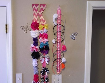 Headband & Initial Hair Bow Holder - Hair Accessories