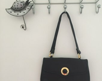 Rich navy vintage handbag with gold detail