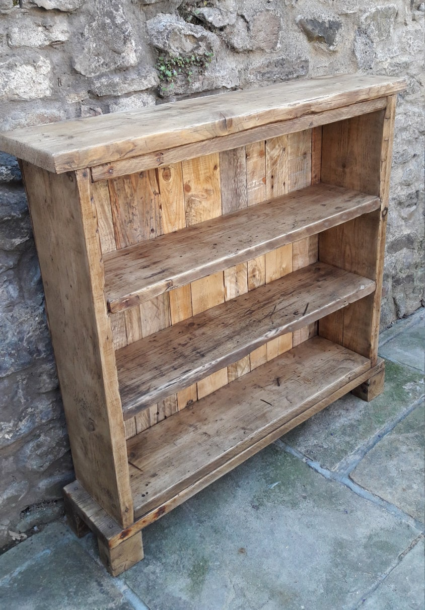 Handmade Solid Wood Bookcase. Reclaimed Wood Shelves Rustic