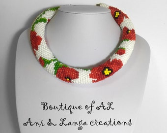 Crochet bead necklace, Handmade Necklace,Red Flower necklace, Gift for her