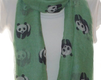 Mint panda Scarf shawl, Beach Wrap, Cowl Scarf, mint panda print scarf, cotton scarf, gifts for her
